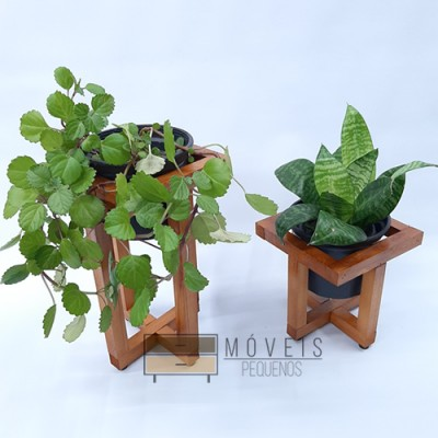 Suporte para plantas feito em madeira 2 peças Suporte para Plantas imagem