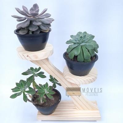 Suporte de madeira para suculentas 3 plantas Suporte para Plantas imagem